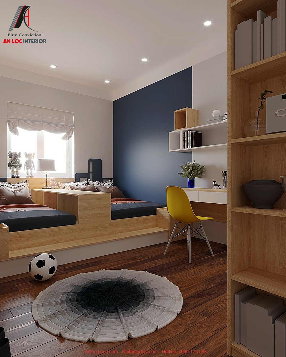 Mẫu 18: Thiết kế nội thất phòng ngủ 2 giường cho bé trai (Ảnh 3)