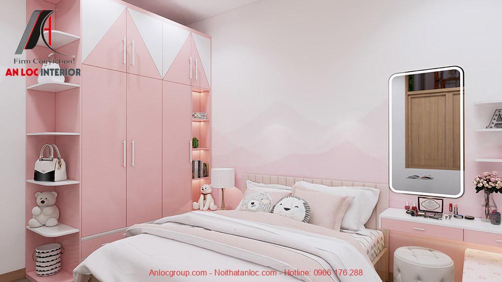 Mẫu 24: Thiết kế phòng ngủ màu hồng cho con gái (Ảnh 3)