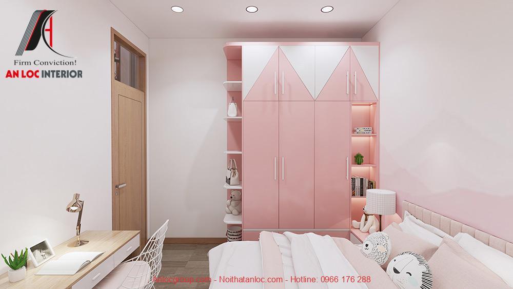 Mẫu 24: Thiết kế phòng ngủ màu hồng cho con gái (Ảnh 4)