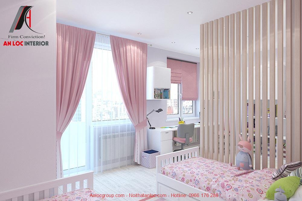 Mẫu 23: Phòng ngủ giường đôi cho 2 bé gái (Ảnh 2)