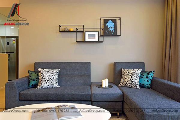 Thiết kế nội thất phòng khách với sofa hài hòa với tổng thế