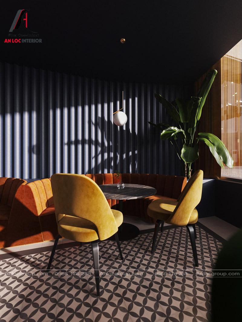 Ghế ngồi sử dụng màu vàng sang trọng đi kèm chất liệu nhung bọc bên ngoài
