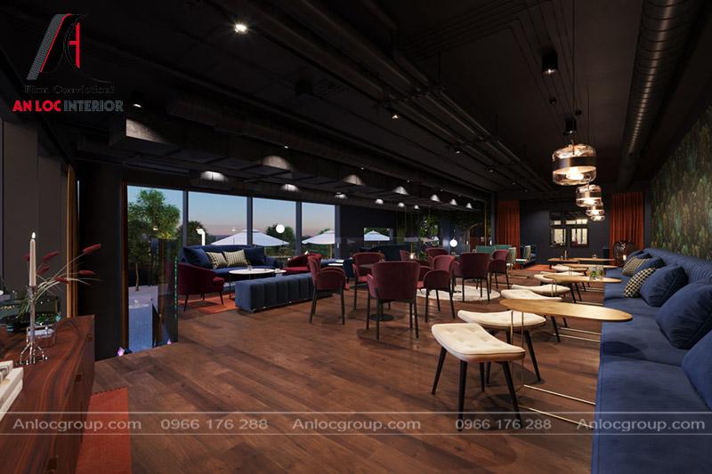 Toàn cảnh quá cafe được phân chia thành 3 hàng ghế ngồi với kiểu dáng khác nhau