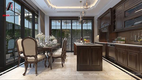 thiết kế nội thất gỗ tự nhiên cho phòng bếp