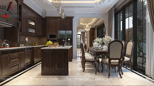 Thiết kế nội thất phòng bếp gỗ tự nhiên