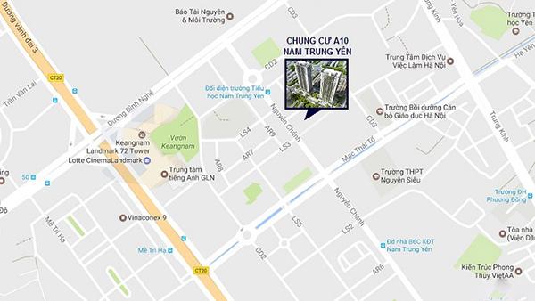 Vị trí đặc địa tại quận Cầu Giấy của chung cư A10 Nam Trung Yên