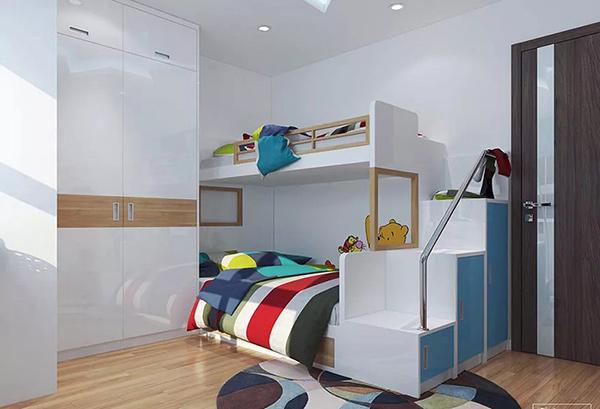 Tủ uần áo được đặt cùng với giường 2 tầng