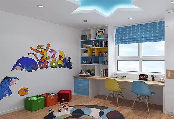 Góc học tập được bố trí gần cửa sổ tạo không gian thoải mái để bé học tập hiệu quả