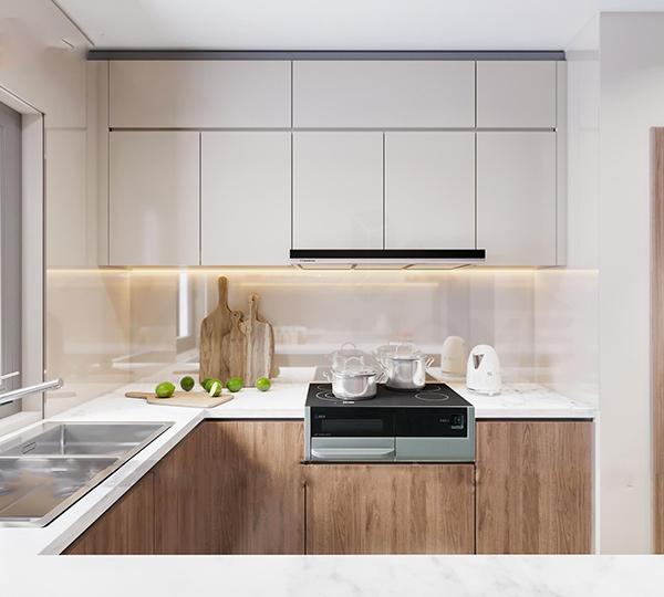 Các dụng cụ nấu nướng của phòng bếp chung cư A10 Nam Trung Yên hiện đại, tiện nghi