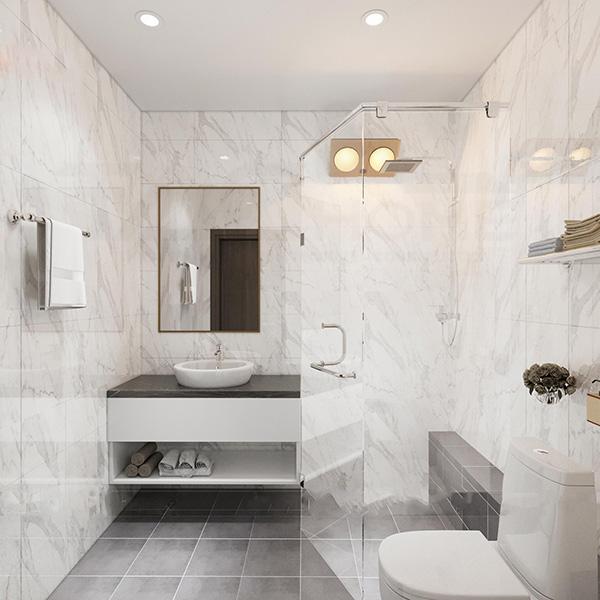 Khu vực phòng tắm, rửa tay được phân tách mạch lạc, rõ ràng