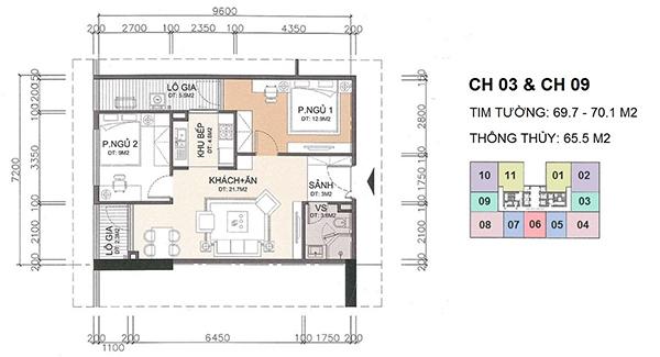 Bố trí mặt bằng trong nội thất căn hộ 2 phòng ngủ chung cư A10 Nam Trung Yên