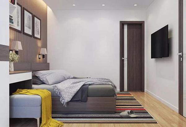 Căn hộ 64m2 trong chung cư A10 Nam Trung Yên sử dụng tivi âm tường nhỏ gọn, tiết kiệm diện tích