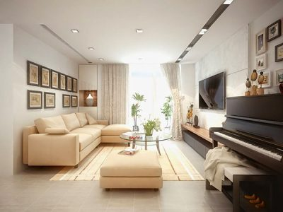 Bộ sofa màu can da kết hợp ánh sáng qua của sổ tạo nên không gian sang trọng