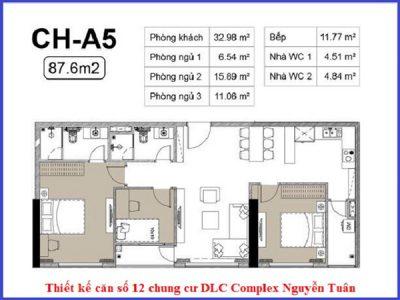 Bản vẽ mặt bằng căn hộ 3 phòng ngủ tại chung cư DLC Complex Nguyễn Tuân