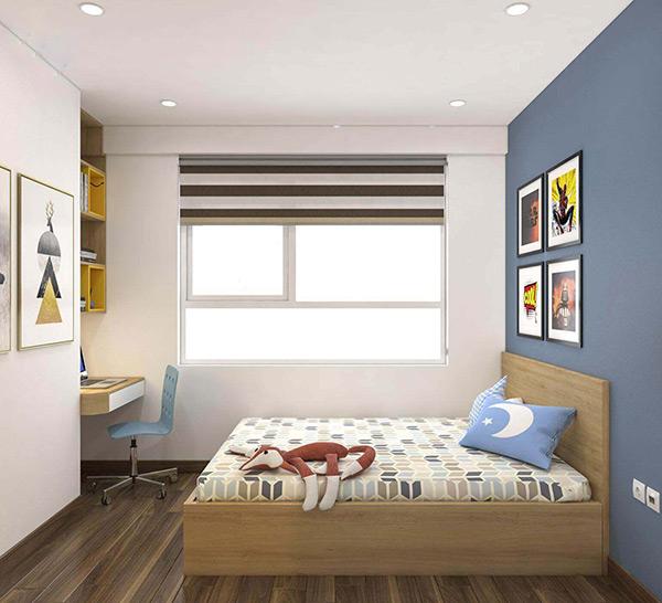Góc học tập và cửa số chiếu sáng được bố trí ấn tượng trong chung cư DLC Complex Nguyễn Tuân