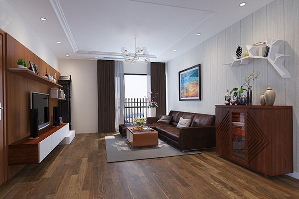 Nội thất phòng khách đơn giản với đô trang trí lịch sự, hiện đại