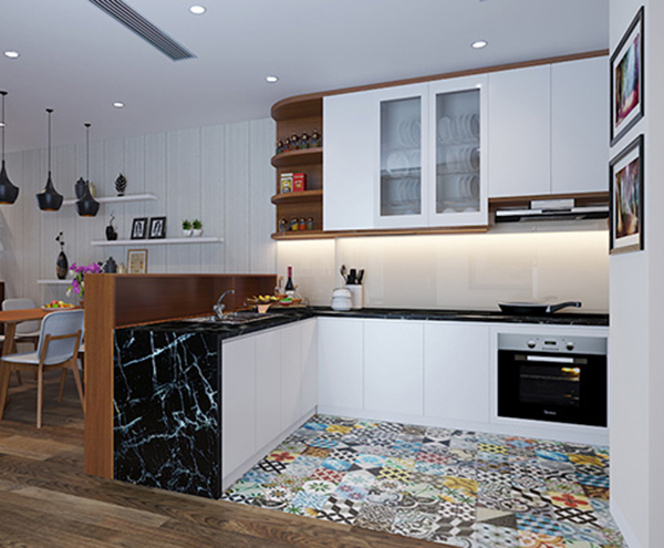 Nội thất phòng bếp chung cư DLC Complex 3 phòng ngủ với cách sắp xếp khoa học