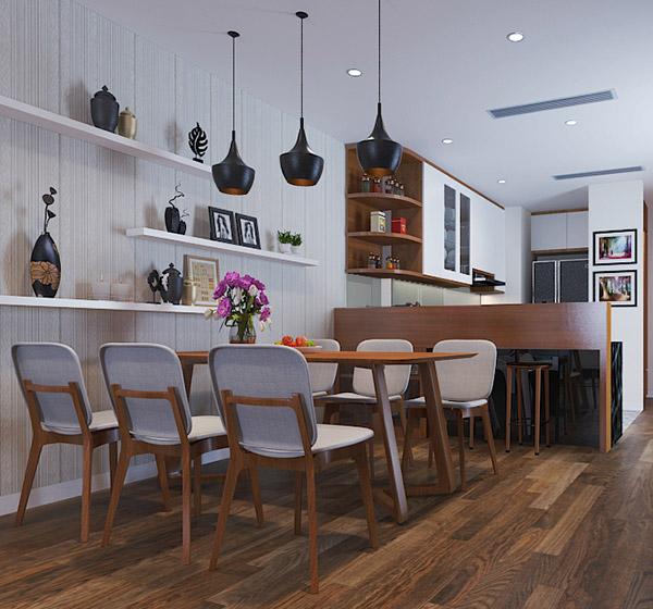 Bàn ăn làm tư gỗ cao cấp kết hợp ấn tượng với các vật dụng trang trí