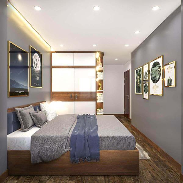 Giường ngủ, tủ gỗ sử dụng màu sắc gỗ trang nhã, lịch sự