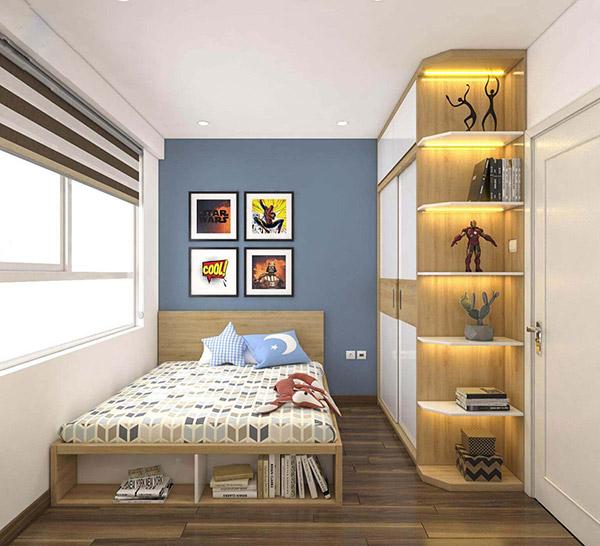 Thiết kế giường ngủ với các hộc nhỏ để đựng đồ tiện lợi