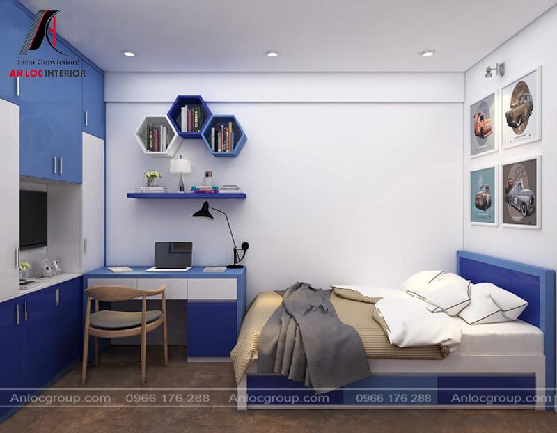 Nội thất phòng ngủ 2 con trai với tông màu xanh cá tính, nổi bật