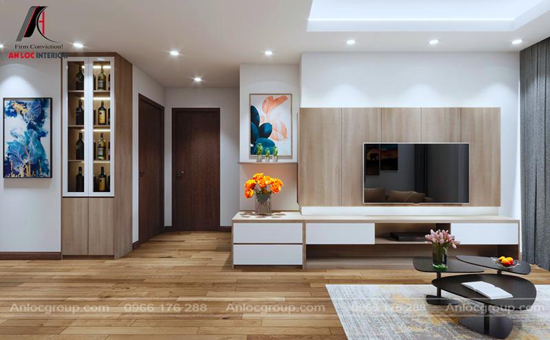 Tủ rượu trang trí giúp căn phòng trở nên sinh động đơn giản
