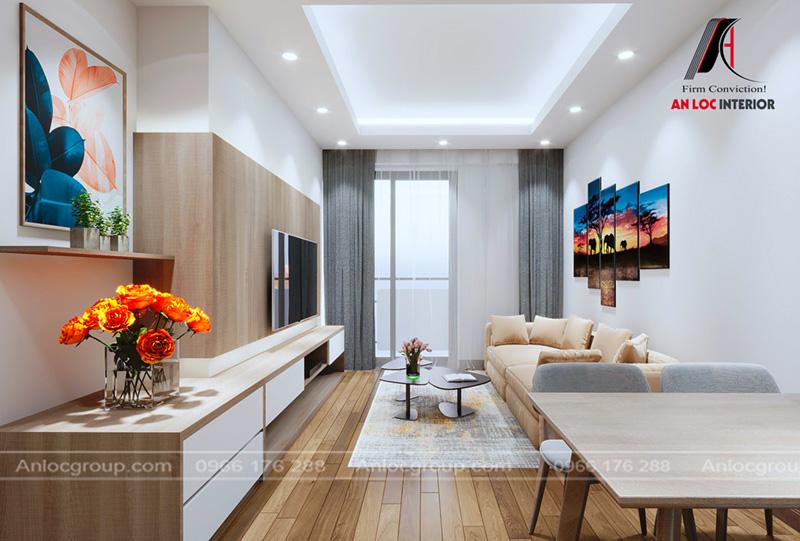 Nội thất phòng khách sử dụng sofa màu paste nhẹ nhàng kết hợp tivi âm tường hiện đại