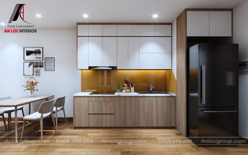 Tủ bếp chữ I được bố trí với tiện nghi đơn giản phục vụ quá trình nấu nướng