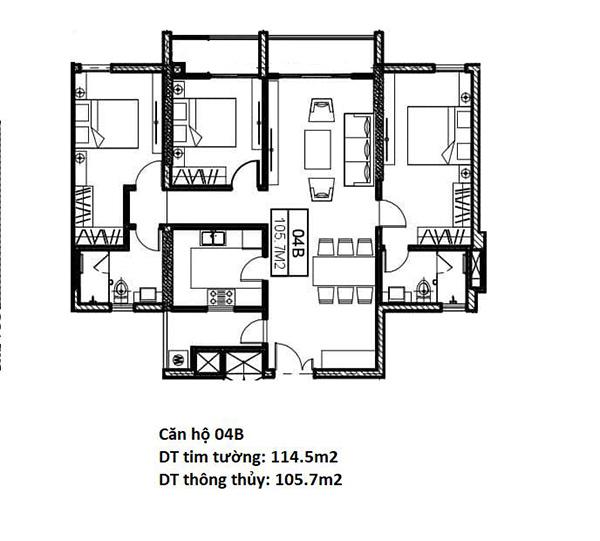 Mặt bằng chung cư Chelsea Residences diện tích 105,7m2