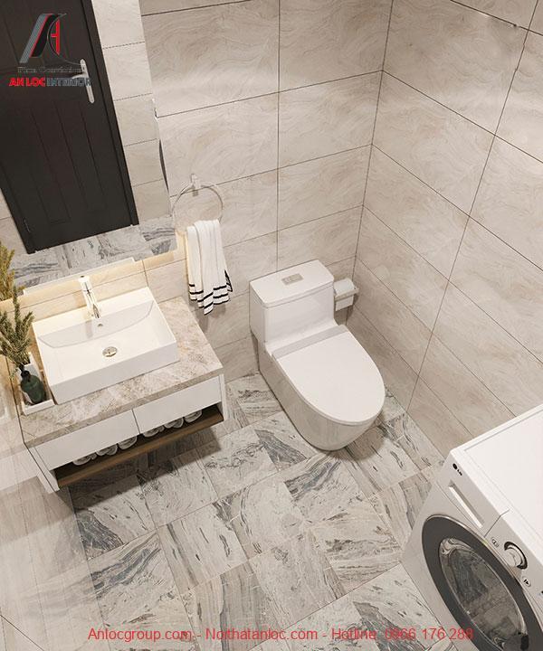 Góc chụp trên cao của phòng tắm căn hộ 105,7m2 3 phòng ngủ