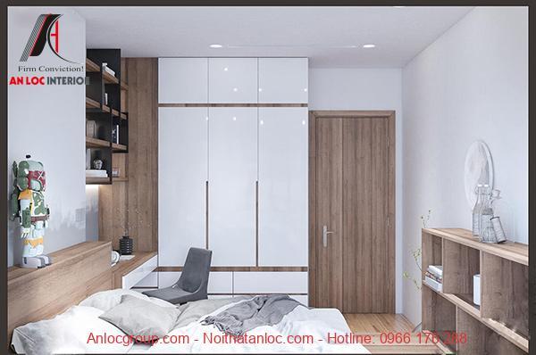 Tủ đựng đồ, giường ngủ, bàn hộc trong căn hộ chung cư Chelsea Residences sử dụng màu gỗ nâu nhạt