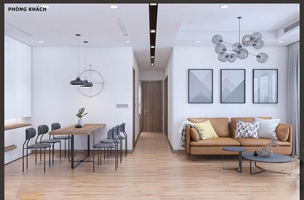Màu nâu xám đặc trưng của không gian phòng khách chung cư Chelsea Residences