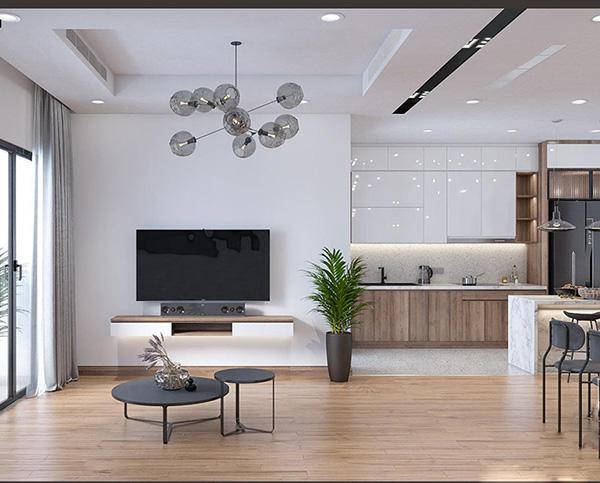 Bố trí căn hộ trong chung cư Chelsea Residences với nội thất đơn giản, tích hợp công năng