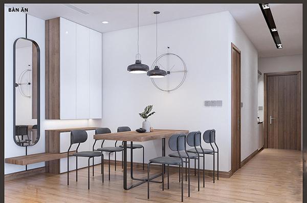 Bộ bàn ăn có kiểu dáng lạ mắt hài hòa với không gian phòng khách căn hộ diện tích 105,7m2