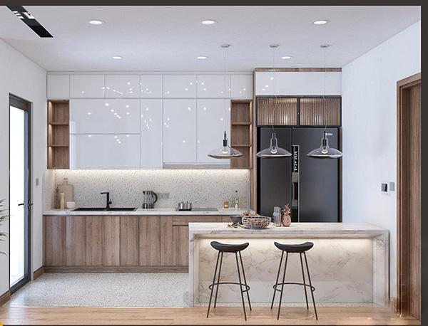 Quầy bar nhỏ khu vực phòng bếp vừa để đựng đồ mà còn ngăn cách với đường di chuyển