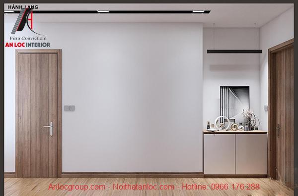 Khu vực hành lang được lát gỗ cao cáp trong dự án chung cư Chelsea Residences