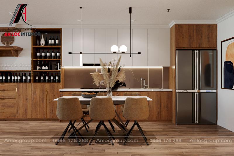Nội thất bếp được sắp xếp khoa học tạo nên tiện nghi trong quá trình sử dụng