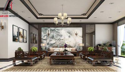 Không gian phòng khách được phối cảnh tựa như bức tranh diệu kỳ