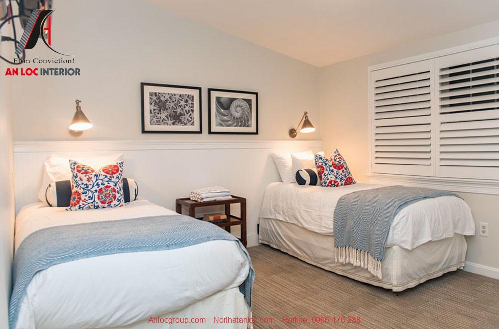 Mẫu 3: Thiết kế nội thất phòng ngủ 2 giường 7m2 (Ảnh 1)
