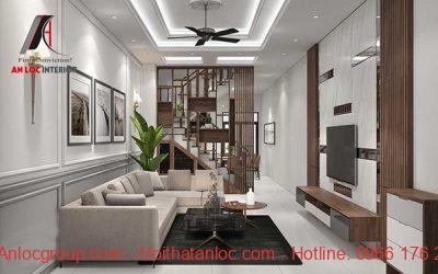 Thiết kế nội thất phòng khách với chất liệu gỗ đặc trưng