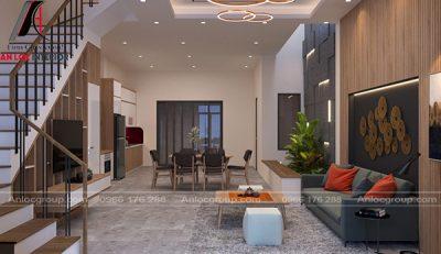 Tổng quan không gian phòng khách và bếp tạo nên không gian sống hiện đại
