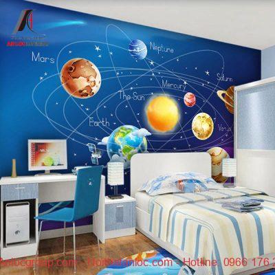 Mẫu giấy dán tường phòng ngủ trẻ em mang tính khoa học, giáo dục cao
