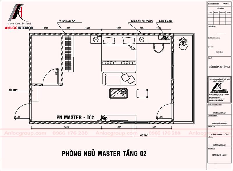 Mặt bằng phòng ngủ master