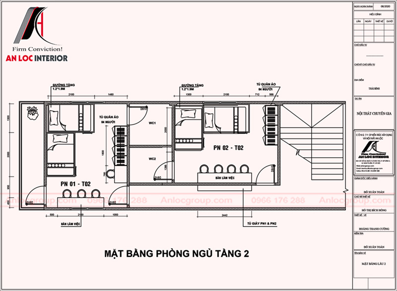 Mặt bằng phòng ngủ tầng 2