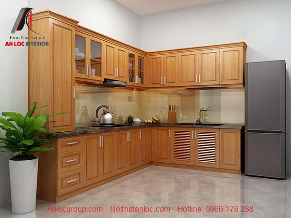 Thiết kế tủ bếp cách dưới và cánh trên hài hòa với nội thất phòng bếp