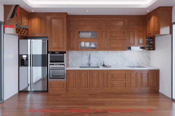 Mẫu 9: Mẫu nhà bếp nhỏ đẹp kết hợp tủ chữ I nhằm gia tăng diện tích sử dụng
