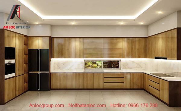 Mẫu 12: Mẫu tủ bếp đẹp với bề mặt là vân gỗ cam nhạt tạo nên không gian bếp tiện nghi