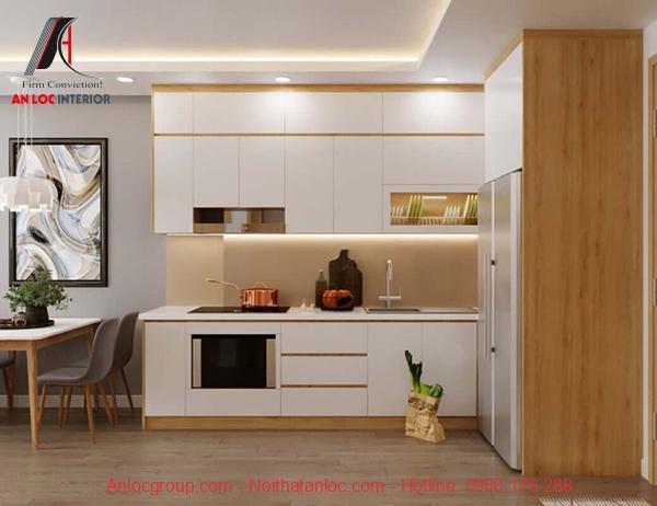 Mẫu 13: Tủ bếp chữ I phù hợp với mẫu nhà bếp đẹp, hiện đại