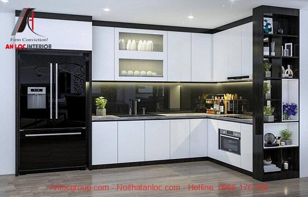 Mẫu 14: Tủ bếp gia đình được bố trí khoa học để mang đến không gian khoa học