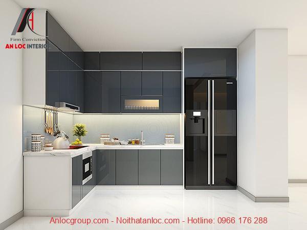 Mẫu 15: Tủ bếp đơn giản với màu sắc trang nhã, lịch sự